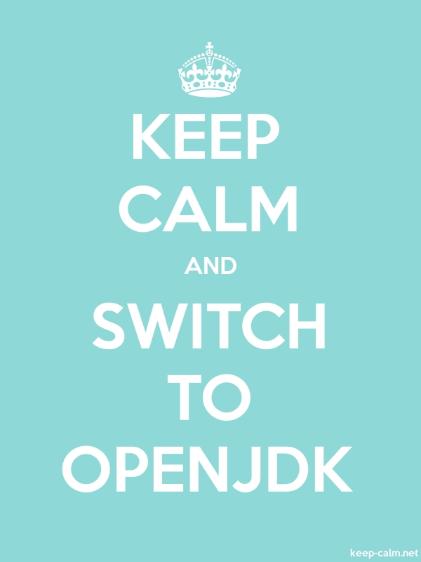 KEEP CALM AND SWITCH TO OPENJDK - white/lightblue - Default (600x800)