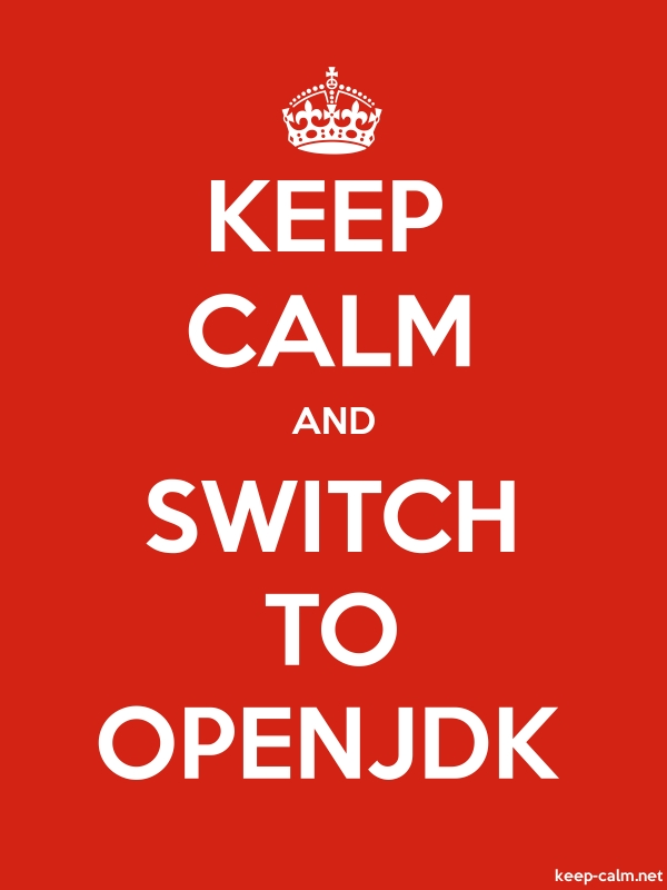 KEEP CALM AND SWITCH TO OPENJDK - white/red - Default (600x800)