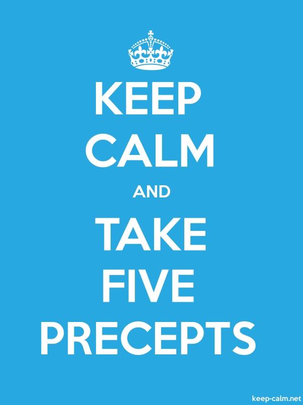 KEEP CALM AND TAKE FIVE PRECEPTS - white/blue - Default (600x800)