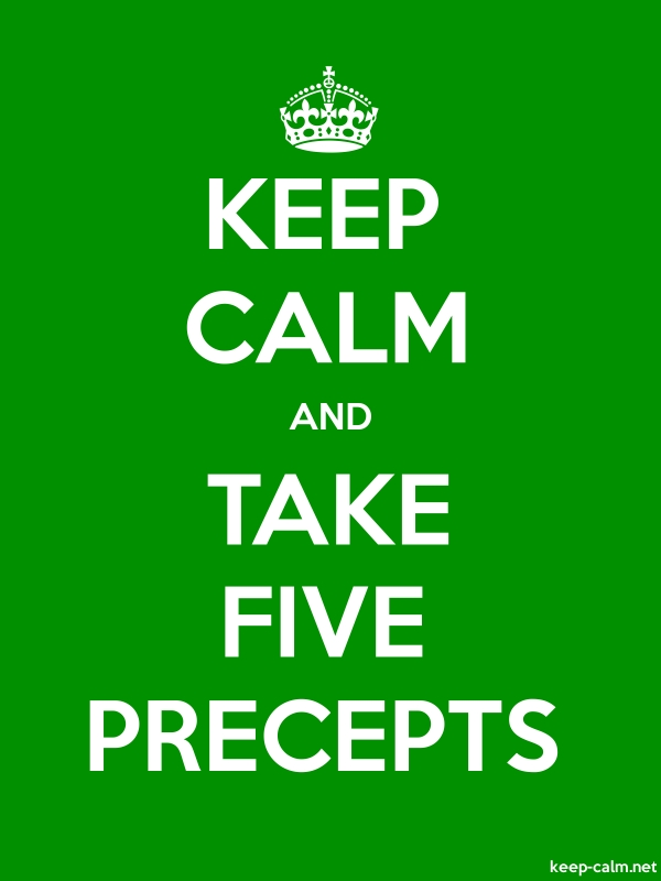 KEEP CALM AND TAKE FIVE PRECEPTS - white/green - Default (600x800)