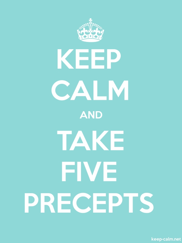 KEEP CALM AND TAKE FIVE PRECEPTS - white/lightblue - Default (600x800)