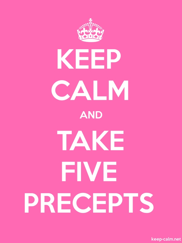 KEEP CALM AND TAKE FIVE PRECEPTS - white/pink - Default (600x800)
