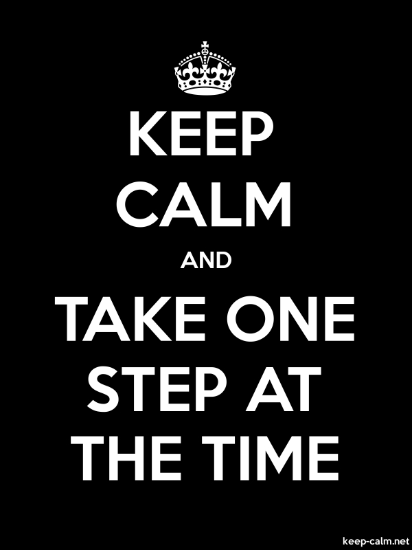 KEEP CALM AND TAKE ONE STEP AT THE TIME - white/black - Default (600x800)