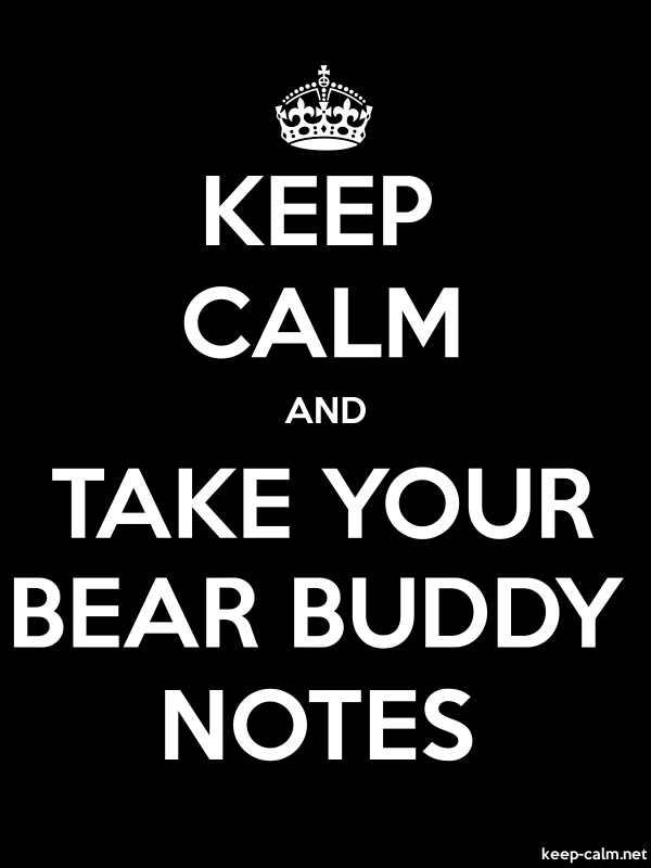 KEEP CALM AND TAKE YOUR BEAR BUDDY NOTES - white/black - Default (600x800)