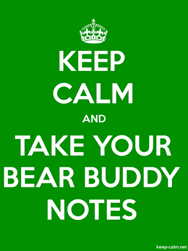 KEEP CALM AND TAKE YOUR BEAR BUDDY NOTES - white/green - Default (600x800)