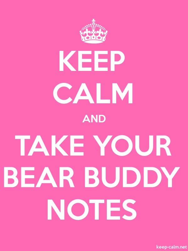 KEEP CALM AND TAKE YOUR BEAR BUDDY NOTES - white/pink - Default (600x800)