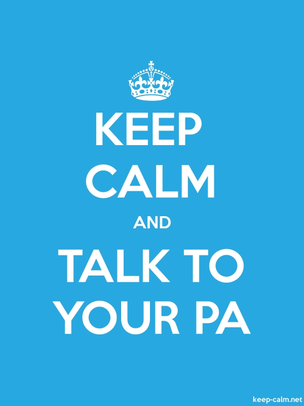KEEP CALM AND TALK TO YOUR PA - white/blue - Default (600x800)