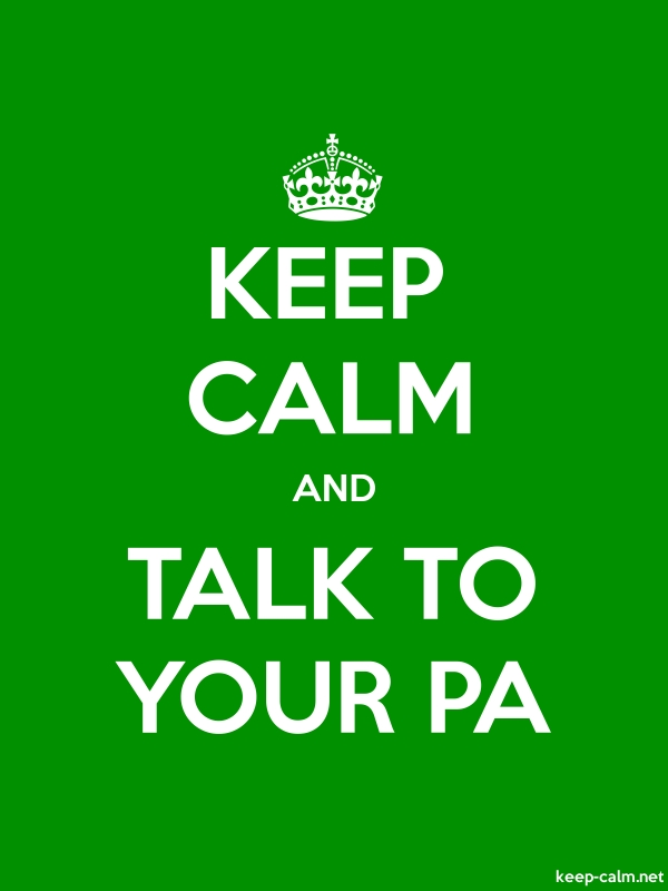 KEEP CALM AND TALK TO YOUR PA - white/green - Default (600x800)