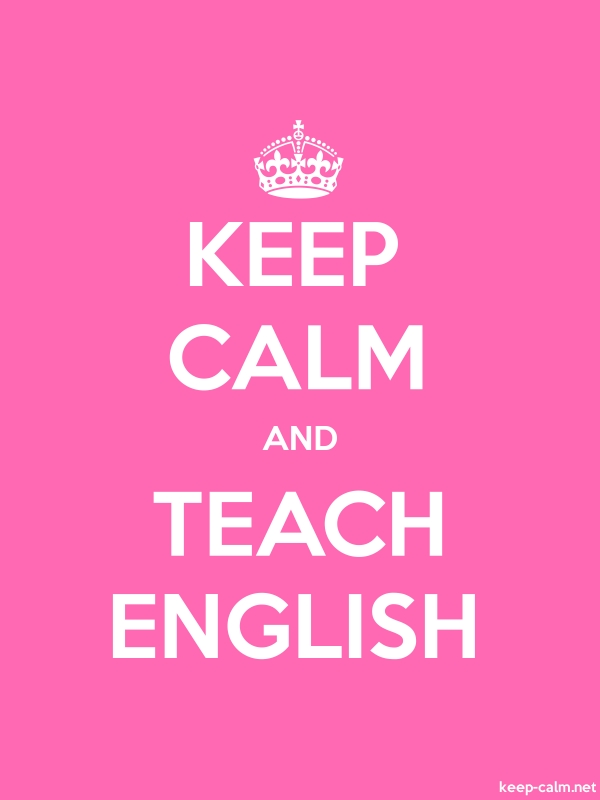 KEEP CALM AND TEACH ENGLISH - white/pink - Default (600x800)