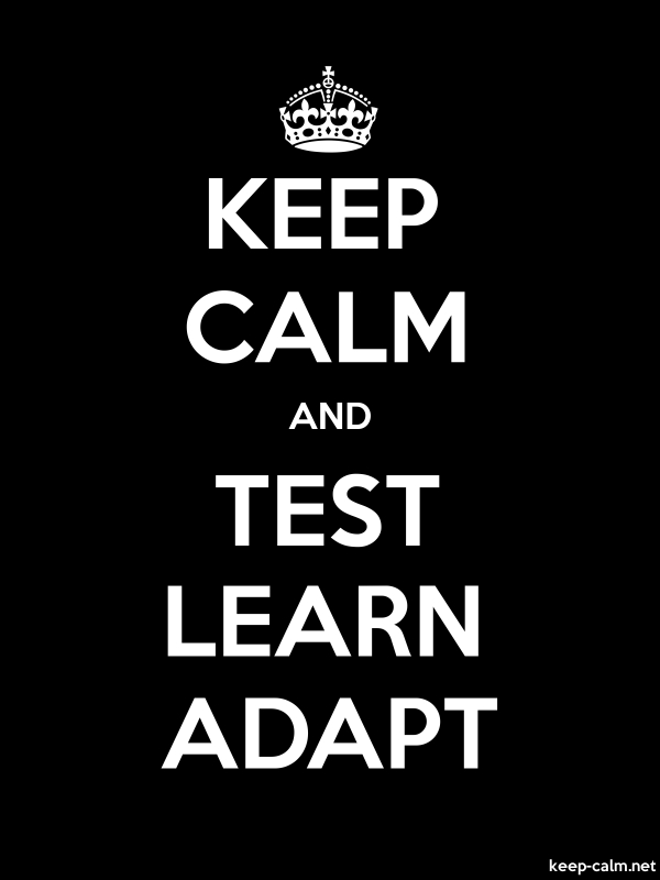 KEEP CALM AND TEST LEARN ADAPT - white/black - Default (600x800)