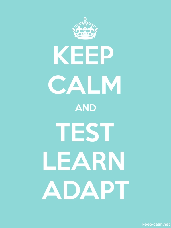 KEEP CALM AND TEST LEARN ADAPT - white/lightblue - Default (600x800)