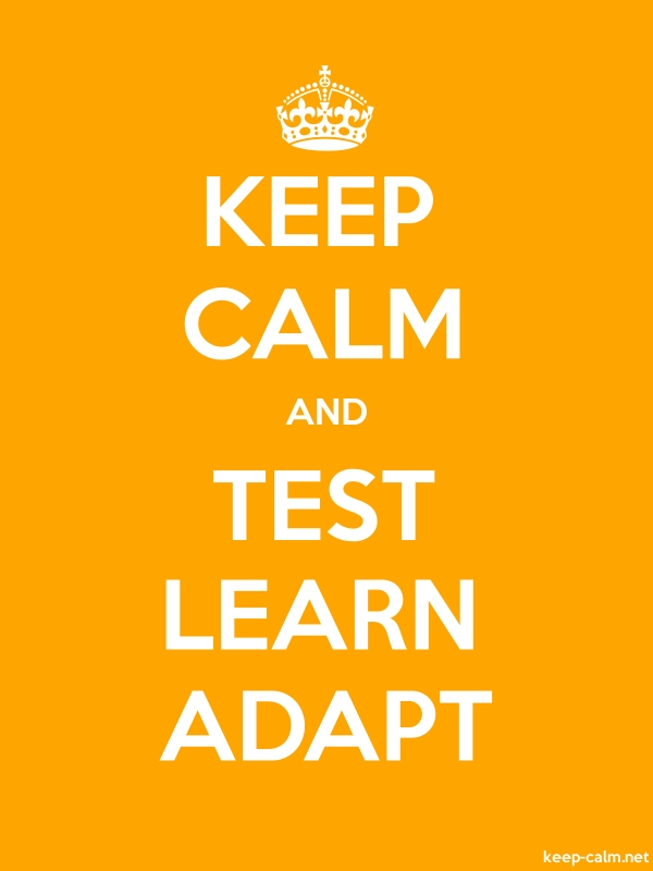 KEEP CALM AND TEST LEARN ADAPT - white/orange - Default (600x800)