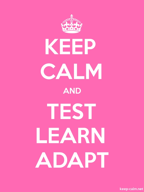 KEEP CALM AND TEST LEARN ADAPT - white/pink - Default (600x800)