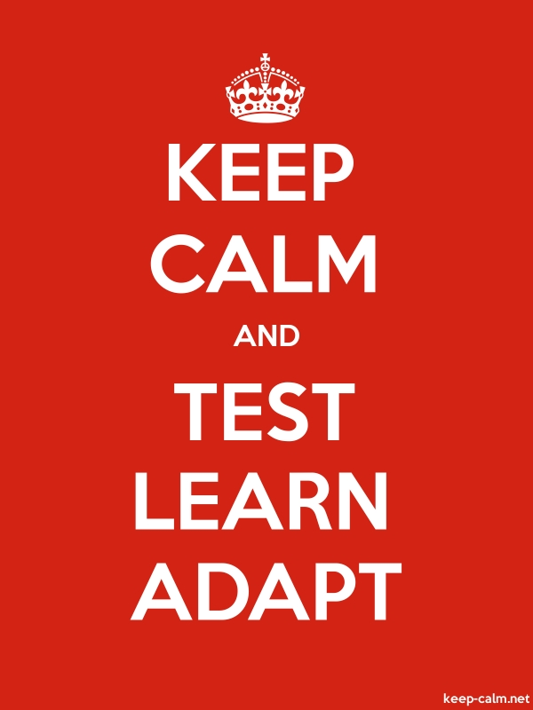 KEEP CALM AND TEST LEARN ADAPT - white/red - Default (600x800)
