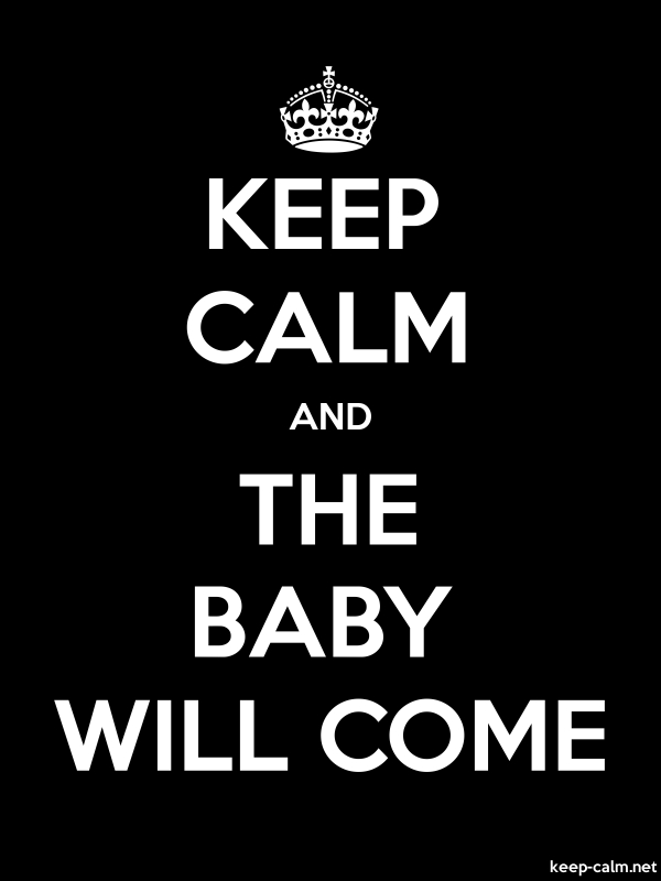 KEEP CALM AND THE BABY WILL COME - white/black - Default (600x800)
