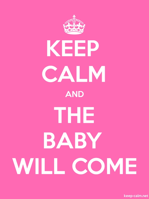 KEEP CALM AND THE BABY WILL COME - white/pink - Default (600x800)