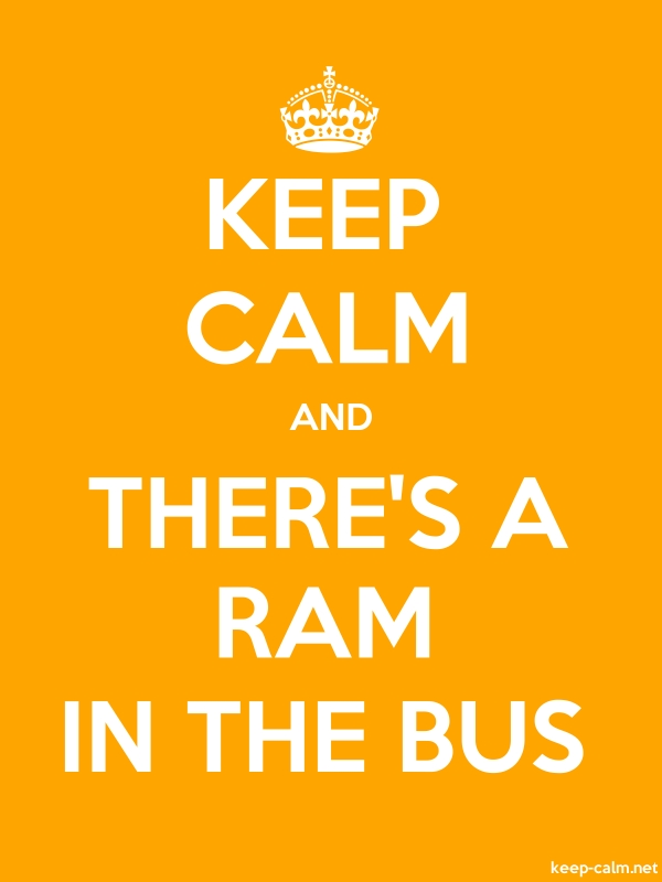 KEEP CALM AND THERE'S A RAM IN THE BUS - white/orange - Default (600x800)