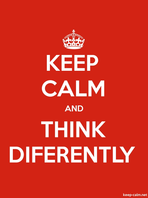 KEEP CALM AND THINK DIFERENTLY - white/red - Default (600x800)