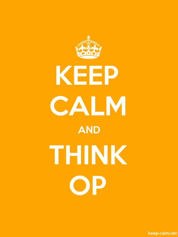 KEEP CALM AND THINK OP - white/orange - Default (600x800)