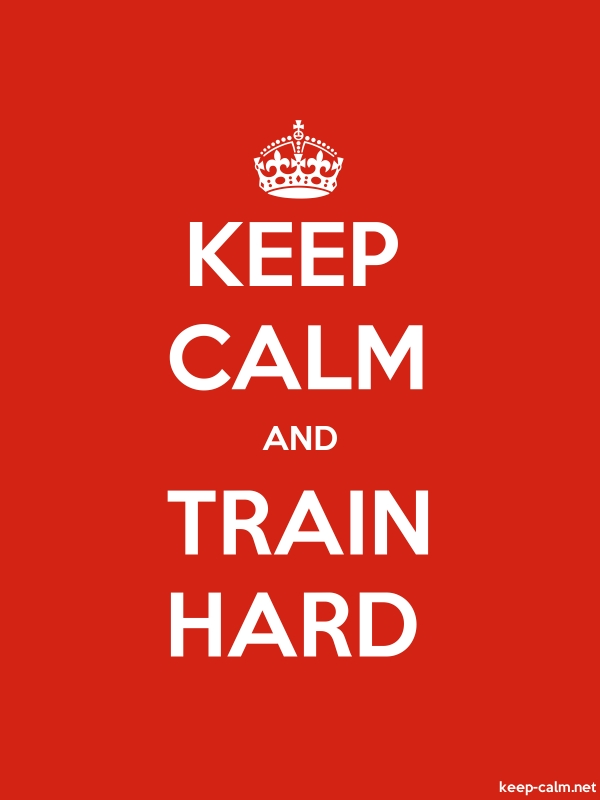 KEEP CALM AND TRAIN HARD - white/red - Default (600x800)