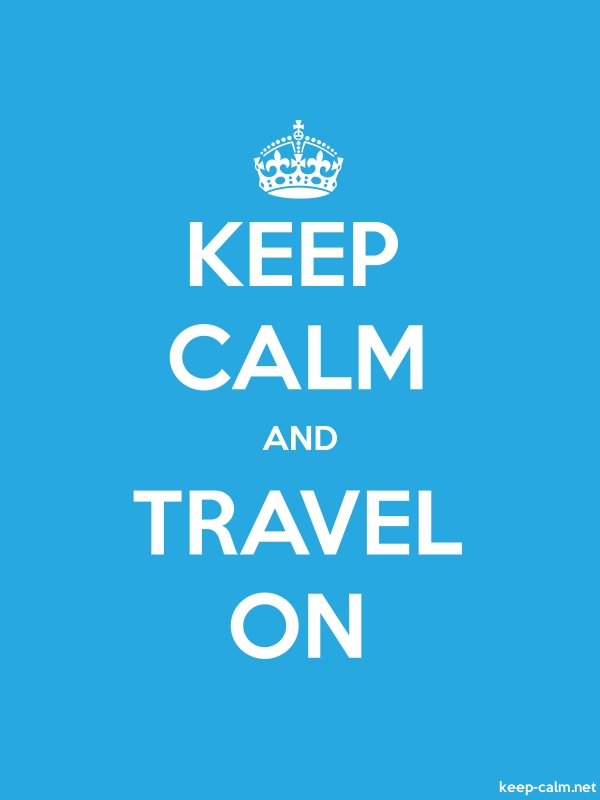 KEEP CALM AND TRAVEL ON - white/blue - Default (600x800)