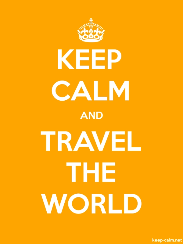 KEEP CALM AND TRAVEL THE WORLD - white/orange - Default (600x800)