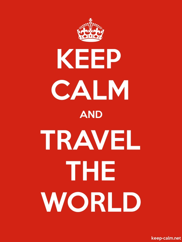 KEEP CALM AND TRAVEL THE WORLD - white/red - Default (600x800)