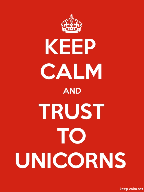 KEEP CALM AND TRUST TO UNICORNS - white/red - Default (600x800)