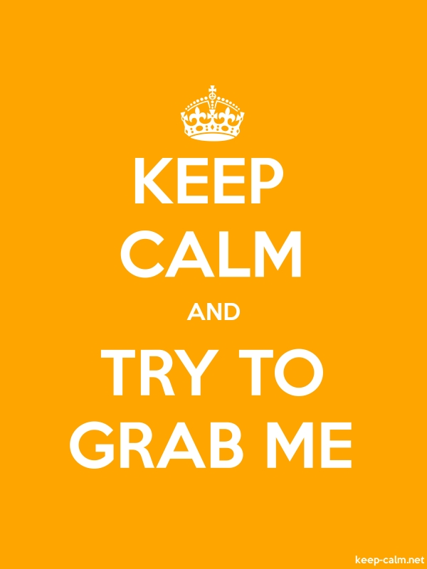 KEEP CALM AND TRY TO GRAB ME - white/orange - Default (600x800)