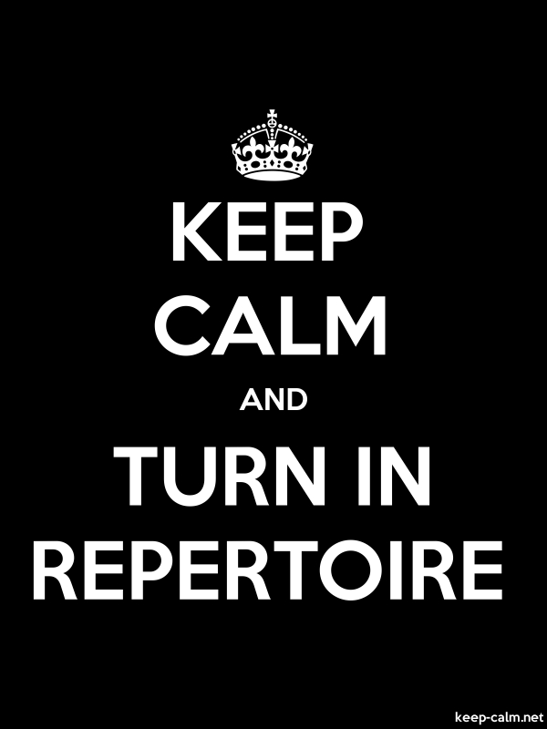 KEEP CALM AND TURN IN REPERTOIRE - white/black - Default (600x800)