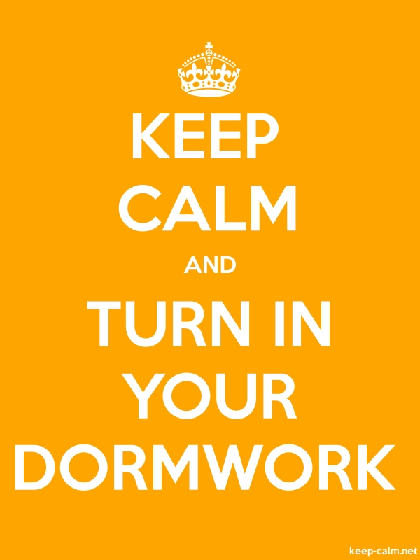 KEEP CALM AND TURN IN YOUR DORMWORK - white/orange - Default (600x800)