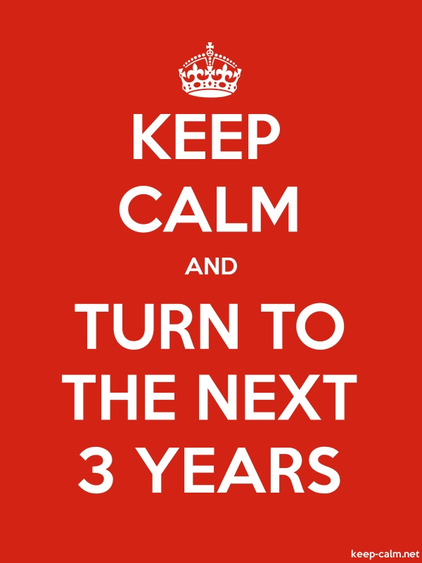 KEEP CALM AND TURN TO THE NEXT 3 YEARS - white/red - Default (600x800)