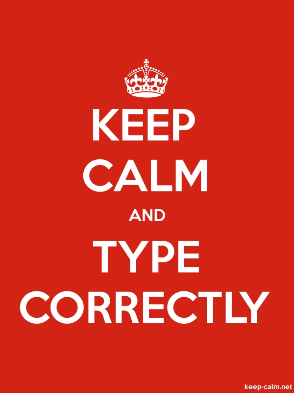 KEEP CALM AND TYPE CORRECTLY - white/red - Default (600x800)