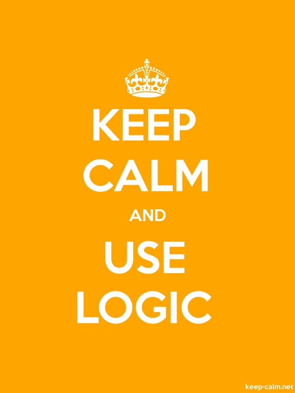KEEP CALM AND USE LOGIC - white/orange - Default (600x800)