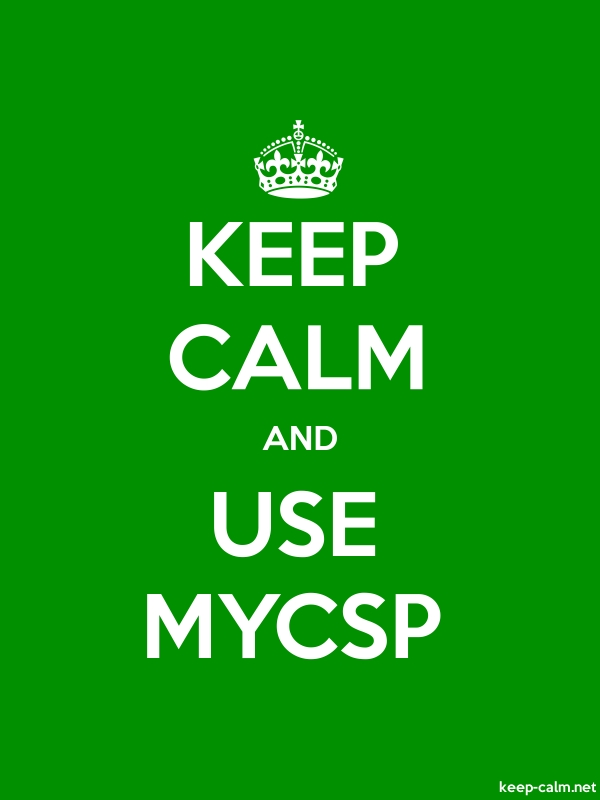 KEEP CALM AND USE MYCSP - white/green - Default (600x800)