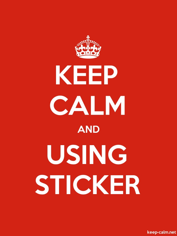 KEEP CALM AND USING STICKER - white/red - Default (600x800)