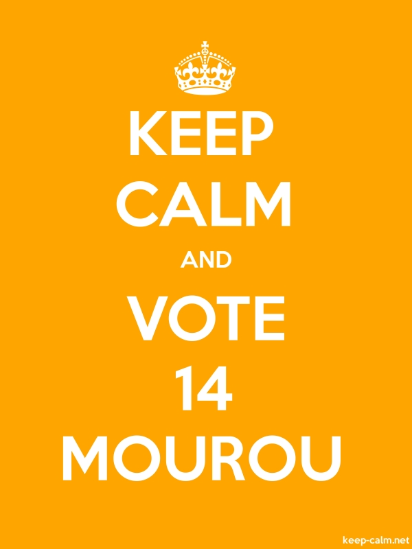 KEEP CALM AND VOTE 14 MOUROU - white/orange - Default (600x800)