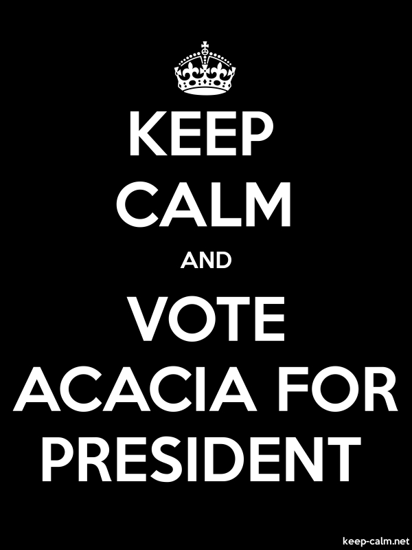 KEEP CALM AND VOTE ACACIA FOR PRESIDENT - white/black - Default (600x800)
