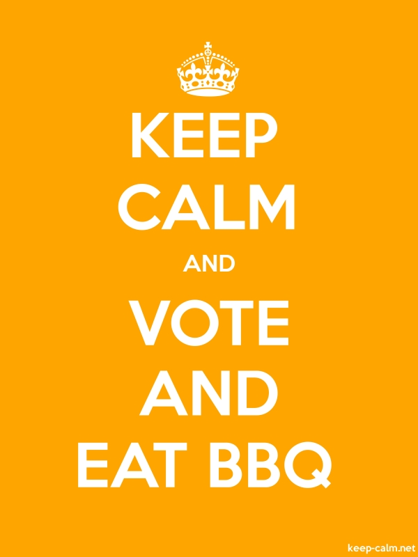 KEEP CALM AND VOTE AND EAT BBQ - white/orange - Default (600x800)