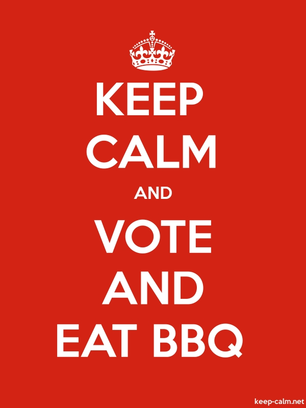 KEEP CALM AND VOTE AND EAT BBQ - white/red - Default (600x800)