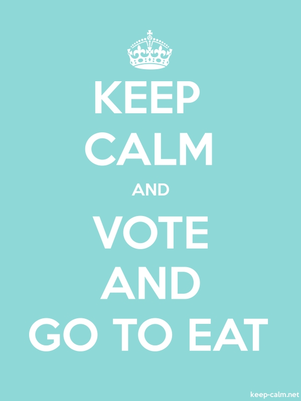 KEEP CALM AND VOTE AND GO TO EAT - white/lightblue - Default (600x800)