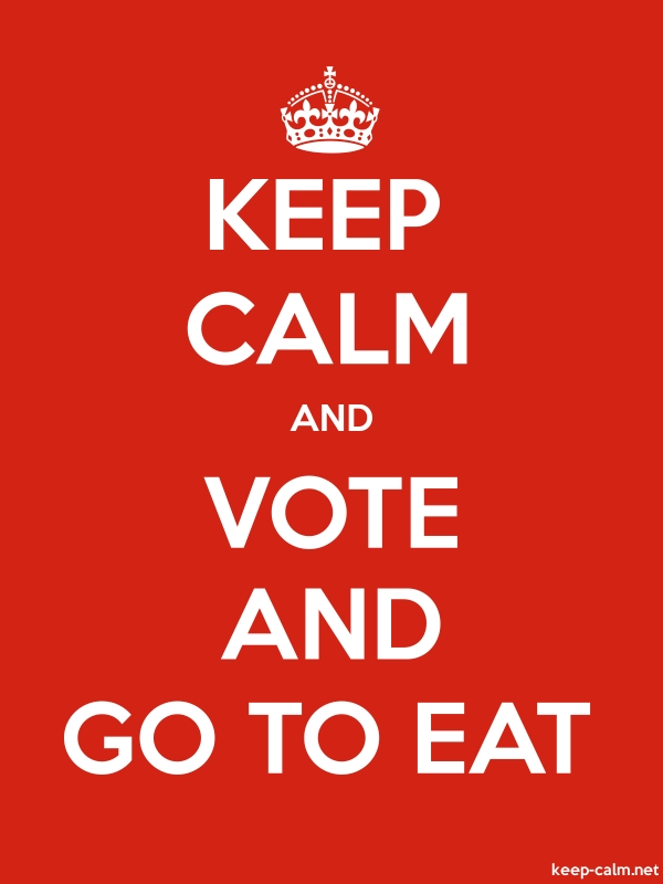 KEEP CALM AND VOTE AND GO TO EAT - white/red - Default (600x800)