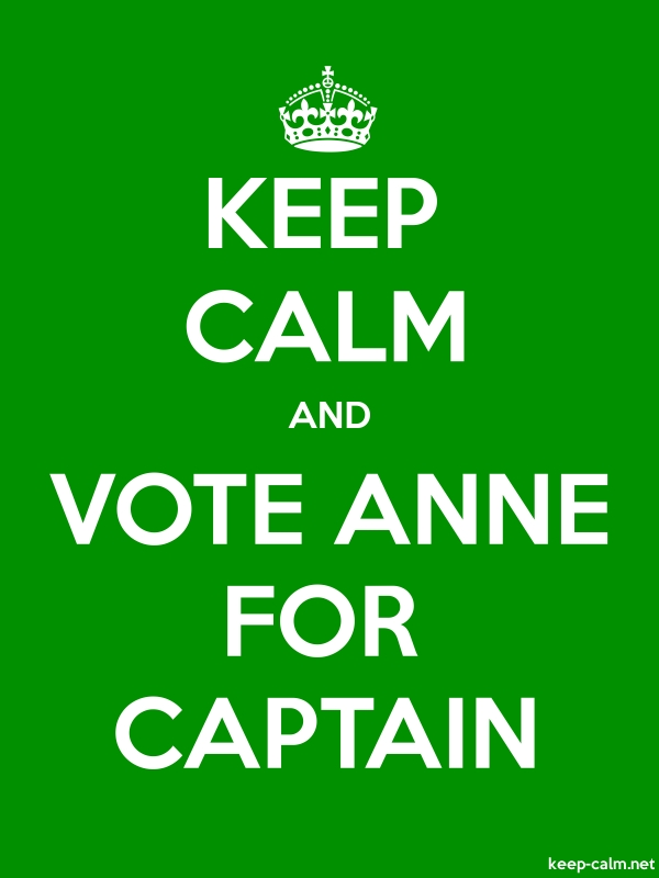 KEEP CALM AND VOTE ANNE FOR CAPTAIN - white/green - Default (600x800)