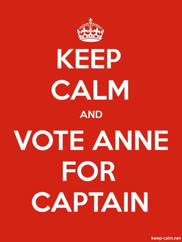 KEEP CALM AND VOTE ANNE FOR CAPTAIN - white/red - Default (600x800)
