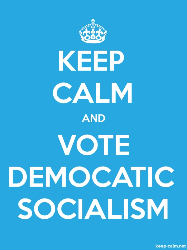 KEEP CALM AND VOTE DEMOCATIC SOCIALISM - white/blue - Default (600x800)