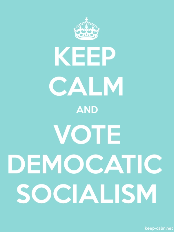 KEEP CALM AND VOTE DEMOCATIC SOCIALISM - white/lightblue - Default (600x800)