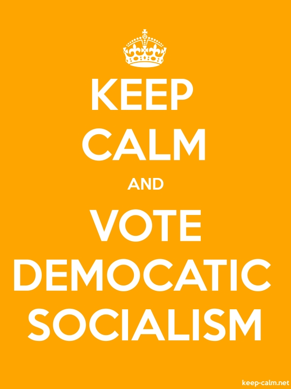 KEEP CALM AND VOTE DEMOCATIC SOCIALISM - white/orange - Default (600x800)