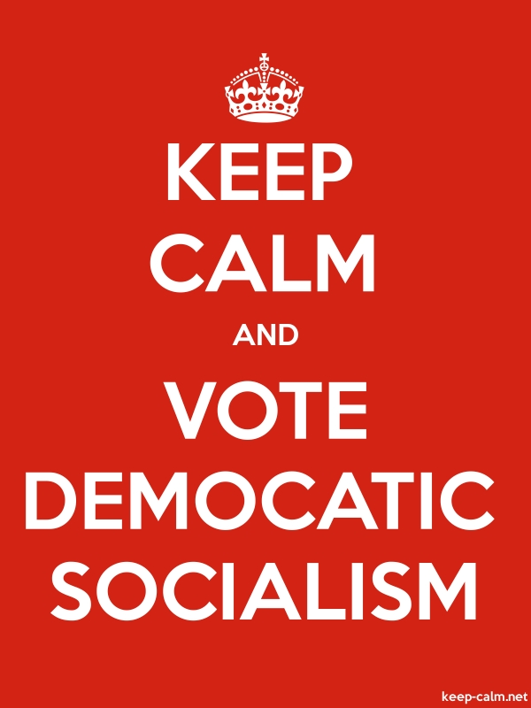 KEEP CALM AND VOTE DEMOCATIC SOCIALISM - white/red - Default (600x800)