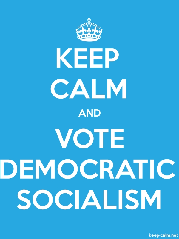 KEEP CALM AND VOTE DEMOCRATIC SOCIALISM - white/blue - Default (600x800)
