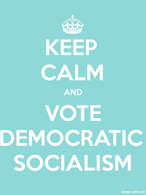 KEEP CALM AND VOTE DEMOCRATIC SOCIALISM - white/lightblue - Default (600x800)